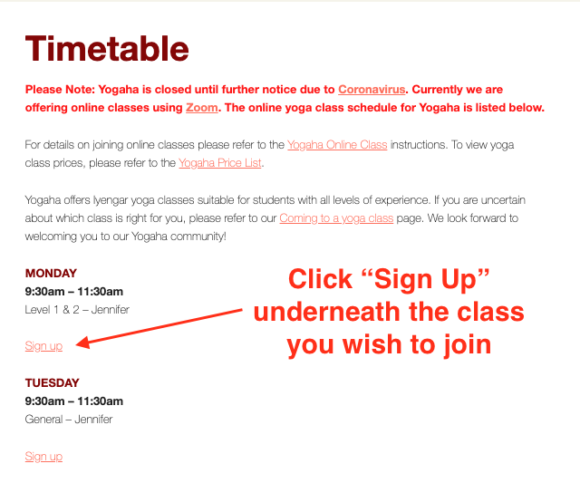 Timetable Signup Link